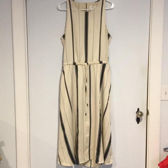 LOFT Dresses & Skirts - Loft NWT Cream and navy striped dress Sz Large